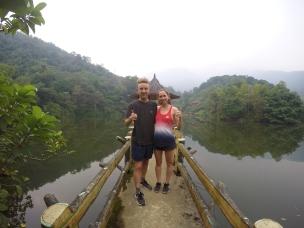 Posing on the pagoda
